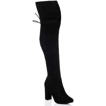 Shoes Women Thigh boots Spylovebuy MAIDEN Lace Up Block Heel Over Knee Tall Boots - Black Suede St Black