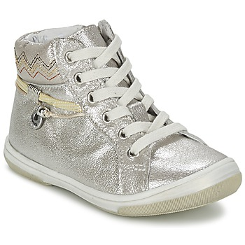 Shoes Girl Hi top trainers Catimini CALLUNA Beige / Silver