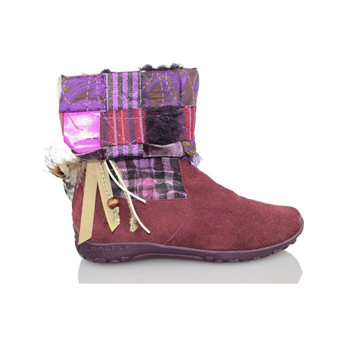 Shoes Girl Ankle boots Lea Lelo LEA LEO COW SUEDE GARNET