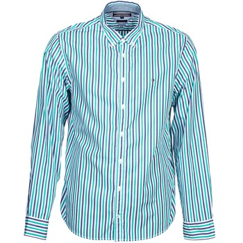 Clothing Men long-sleeved shirts Tommy Hilfiger KELL STP NF2 Blue / Green