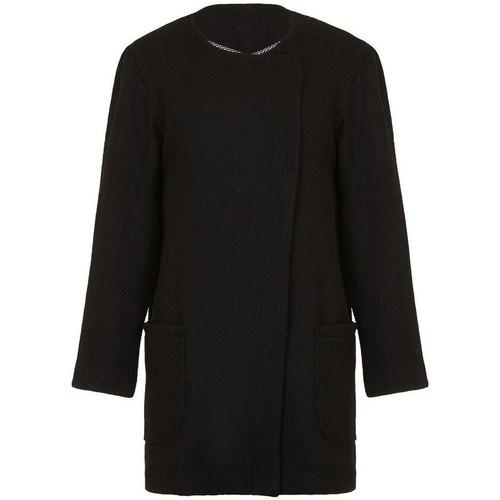 Clothing Women coats Anastasia - Womens Black Winter Textured Unlined  Coat Black
