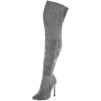 Shoes Women Thigh boots Spylovebuy BALI High Heel Stiletto Over Knee Tall Boots - Grey Suede Style Grey