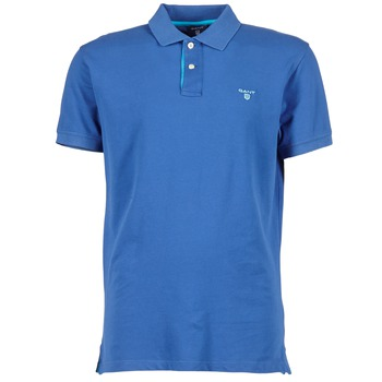 Clothing Men short-sleeved polo shirts Gant CONTRAST COLLAR PIQUE Blue