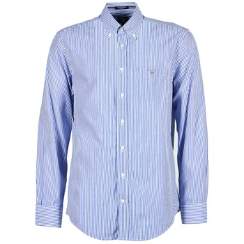 Clothing Men long-sleeved shirts Gant THE POPLIN BANKER STRIPE Blue