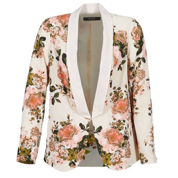 Clothing Women Jackets / Blazers Vila VIFLOURISH BLAZER Beige / Flower