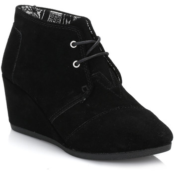 Shoes Women Derby Shoes Toms Womens Black Suede Desert Wedges Black