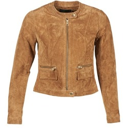 Clothing Women Leather jackets / Imitation leather Only PAIGE COGNAC