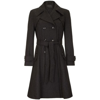 Clothing Women Trench coats Anastasia Women's Dark Grey Wool Winter Belted Trench Coat grey