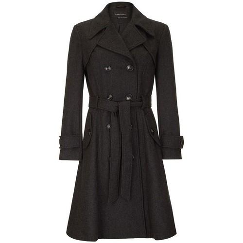 Clothing Women Trench coats Anastasia Women's Dark Grey Wool Winter Belted Trench Coat grey