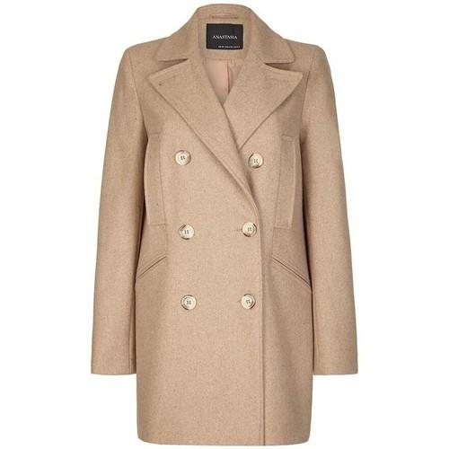 Clothing Women Coats Anastasia Women's Beige Wool Winter Pea Coat beige