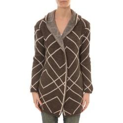 Clothing Women Jackets / Cardigans De Fil En Aiguille GILET CAPUCHE ZINKA 2135 TAUPE Brown
