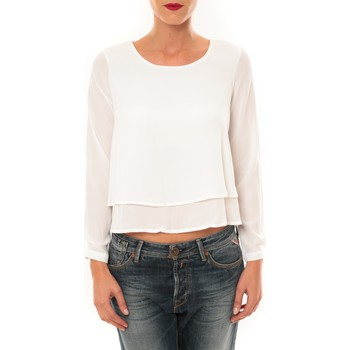 Clothing Women Long sleeved tee-shirts By La Vitrine Top Z014 blanc White