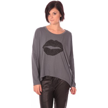 Clothing Women Long sleeved tee-shirts Charlie Joe Top Lips Gris Grey