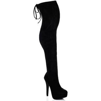 Spylovebuy  CLOSER Platform High Heel Stiletto Over Knee Tall Boots  Black  womens High Boots in black
