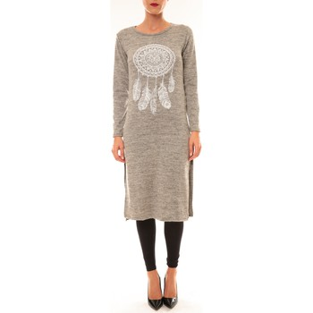 Clothing Women Long Dresses By La Vitrine Robe Plume Gris Grey