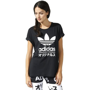 Clothing Women short-sleeved t-shirts adidas Originals Typo Tee Black