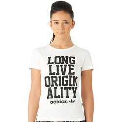 Clothing Women short-sleeved t-shirts adidas Originals Slogan Tee White