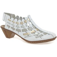Shoes Women Sandals Rieker Sina Leather Woven Heeled Shoes white