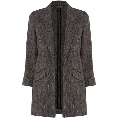 Clothing Women coats Anastasia -Black Herringbone Unlined Jacket black