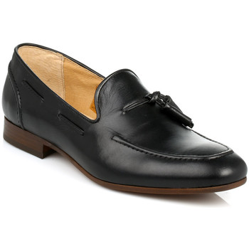 Shoes Men Loafers Hudson Mens Black Pierre Calf Leather Loafers Black