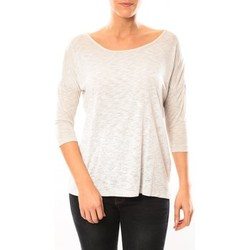 Clothing Women Long sleeved tee-shirts Vero Moda Graing 3/4 Long Top 10104538 Blanc/Beige Beige