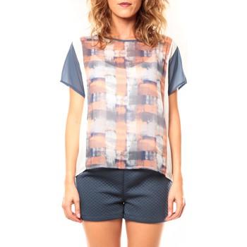 Clothing Women short-sleeved t-shirts Coquelicot T-shirt CQTW14321 Blanc/Bleu Blue