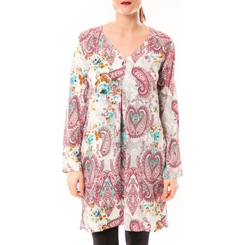 Clothing Women Tunics Dress Code Robe Moda H G-0080-3 Blanc/Rose Pink