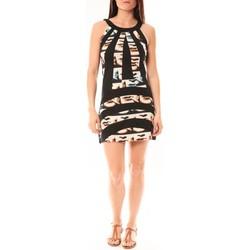 Clothing Women Short Dresses Bamboo's Fashion Robe BA1532 Écru/Noir Black