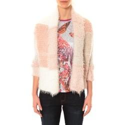 Clothing Women Jackets / Cardigans De Fil En Aiguille Gilet Bicolore LOLA blanc et rose Pink