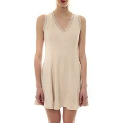 Clothing Women Short Dresses Vera & Lucy Robe suedine Beige R 6229 Beige