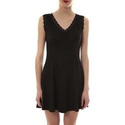 Clothing Women Short Dresses Vera & Lucy Robe suedine Noir R 6229 Black