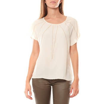 Clothing Women short-sleeved t-shirts Vera & Lucy Top 2585 Écru Beige