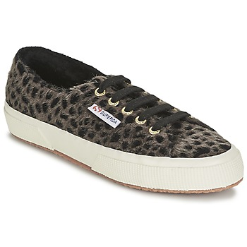 Shoes Women Low top trainers Superga 2750 LEOPARDHORSEW Black / TAUPE