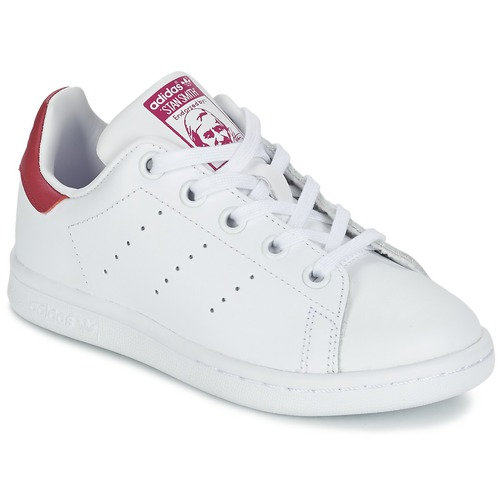 Shoes Girl Low top trainers adidas Originals STAN SMITH EL C White / Pink