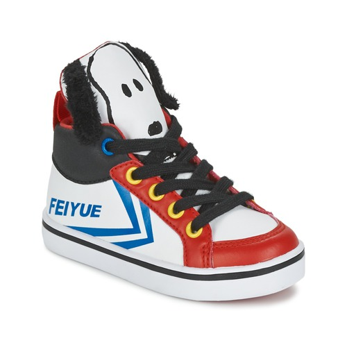 Shoes Children Hi top trainers Feiyue DELTA MID PEANUTS White / Black / Red