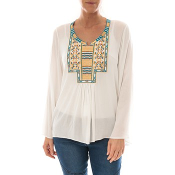 Clothing Women Tops / Blouses Barcelona Moda Top Pink Blanc Broderie Bleu White