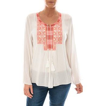 Clothing Women Tops / Blouses Barcelona Moda Top Pink Blanc Broderie Corail White