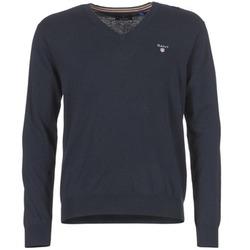 Clothing Men jumpers Gant COTTON WOOL V-NECK MARINE