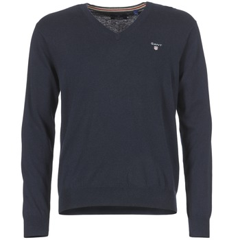 Clothing Men jumpers Gant COTTON WOOL V-NECK Marine