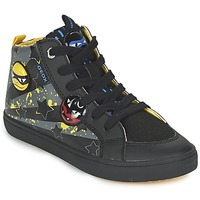 Shoes Boy Hi top trainers Geox KIWI BOY Black / Yellow