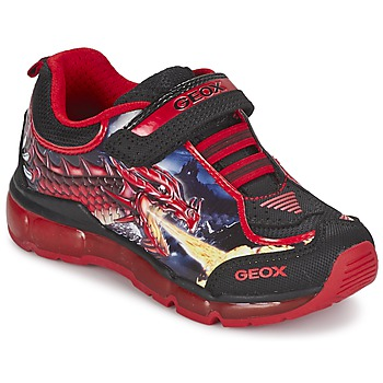 Shoes Boy Low top trainers Geox ANDROID BOY Black / Red