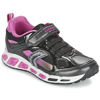 Shoes Girl Low top trainers Geox SHUTTLE GIRL Black / Pink