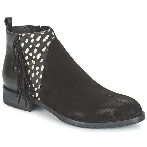 Shoes Women Mid boots Meline VELOURS NERO PLUME NERO Black / White