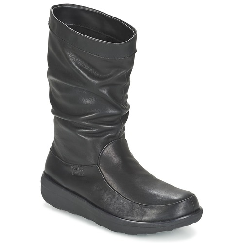 Shoes Women Mid boots FitFlop LOAF SLOUCHY KNEE BOOT LEATHER  black