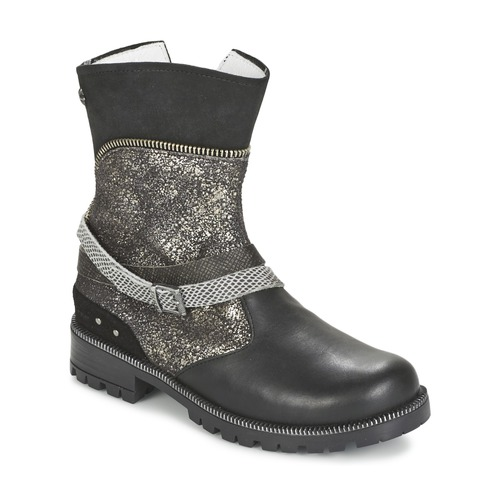 Shoes Girl Mid boots Ikks ROBERTA Black / Grey