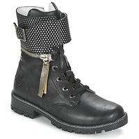 Shoes Girl Mid boots Ikks PEGGY Black / Silver