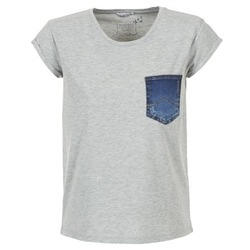 Clothing Women short-sleeved t-shirts Mustang SLV DENIM POCKET Grey