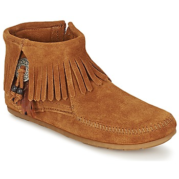 Shoes Women Mid boots Minnetonka CONCHO FEATHER SIDE ZIP BOOT Brown