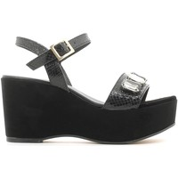 Shoes Women Sandals Grace Shoes 1605F3 Wedge sandals Women Black Black