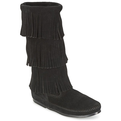 Shoes Women High boots Minnetonka CALF HI 3 LAYER FRINGE BOOT Black